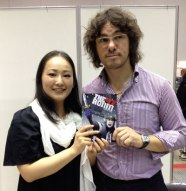 Authors Shimojima and Wilson with a copy of THE 47 RONIN