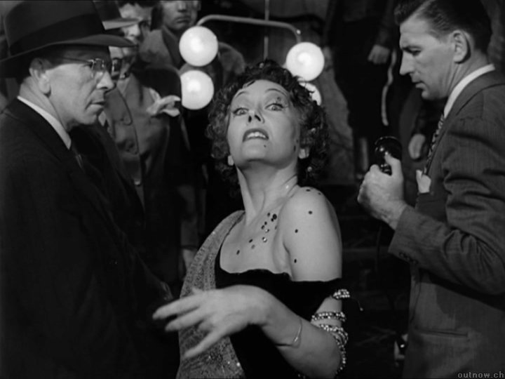 Norma Desmond (Gloria Swanson, herself a former silent film star) plays her final (and fantastic) scene in the finale of SUNSET BOULEVARD (1950)