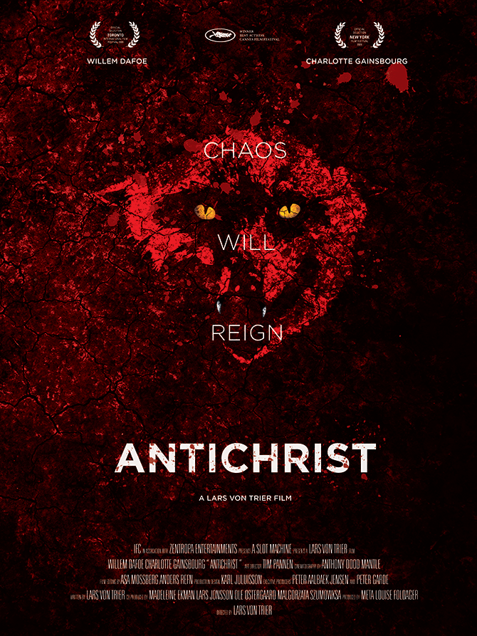 Reimagined theatrical poster design for ANTICHRIST (2009) by James E. Bonilla