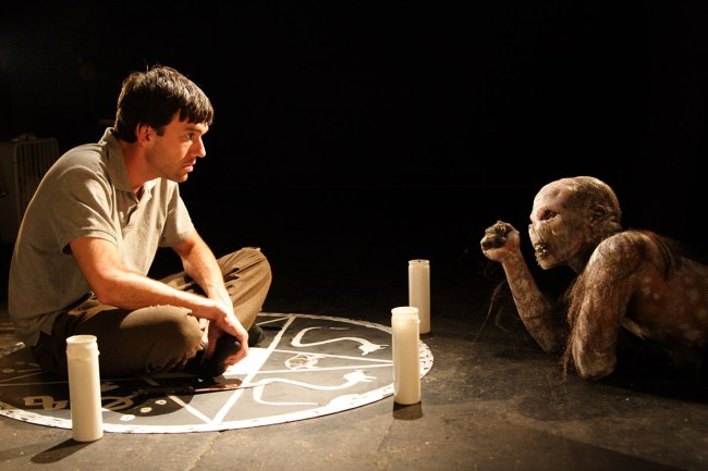 Justin (Ward Roberts) and the demon Lo (Jeremiah Birkett) chat in LO (2009)
